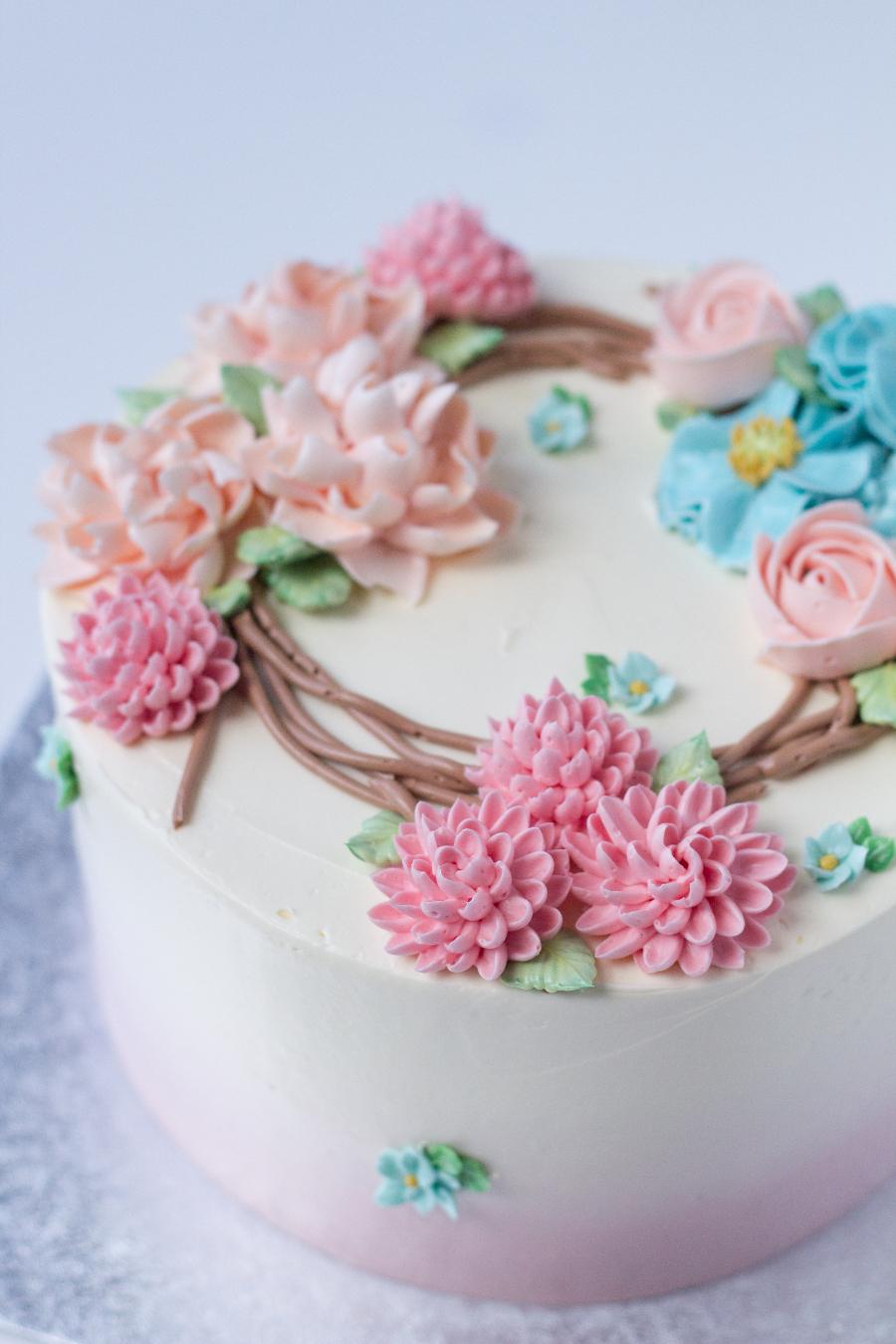 Buttercream Flowers Cake - Fair Cake